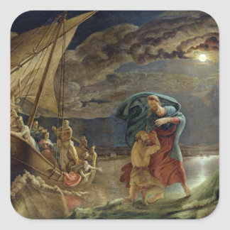 Peter Walks on Water, 1806 Square Sticker