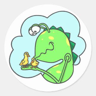 Peter y el monstruo del armario, besos del pato pegatina redonda
