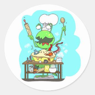 Peter y el monstruo del armario, cociendo pegatina redonda