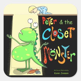 Peter y el monstruo del armario, cubierta pegatina cuadrada