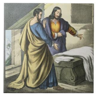 Peter y Juan en el sepulcro, de un prin de la bibl Azulejo Cuadrado Grande