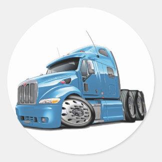 Peterbilt Lt Blue Truck Classic Round Sticker