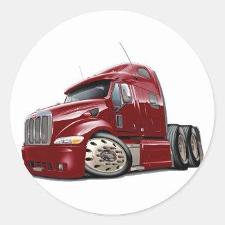 Peterbilt Maroon Truck Round Stickers