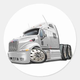 Peterbilt White Truck Classic Round Sticker