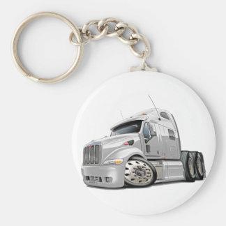 Peterbilt White Truck Keychain