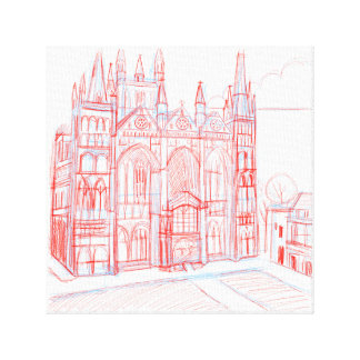 Peterborough Cathedral Sketch Canvas Prints