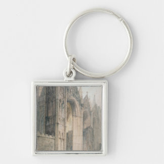 Peterborough Cathedral (w/c on paper) Silver-Colored Square Keychain