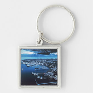 Petersburg Alaska Silver-Colored Square Keychain