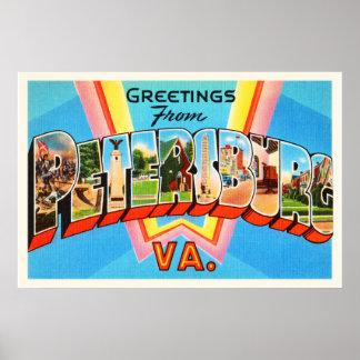 Petersburg Virginia VA Old Vintage Travel Postcard Poster