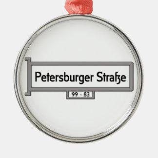 Petersburger Strasse, placa de calle de Berlín Adorno Redondo Plateado