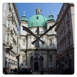 Peterskirche Wien Österreich Reloj Cuadrado