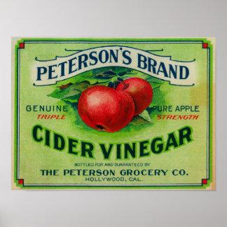 Peterson's Cider Vinegar Label Print