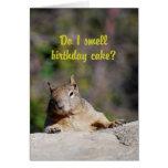 Petición de feliz cumpleaños de la ardilla tarjeta de felicitación