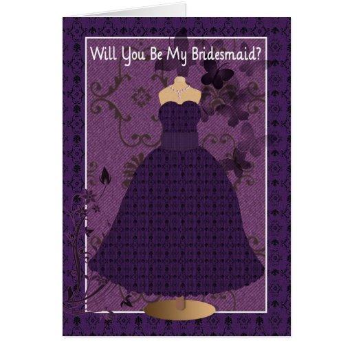 Petición de la dama de honor del boda tarjeta de felicitación
