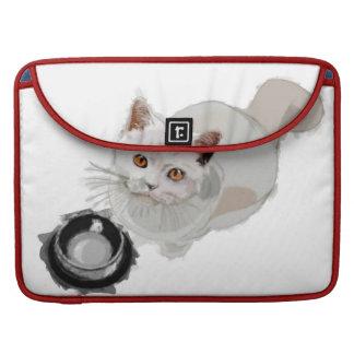 Petición del gato con el cuenco vacío de la comida fundas para macbooks