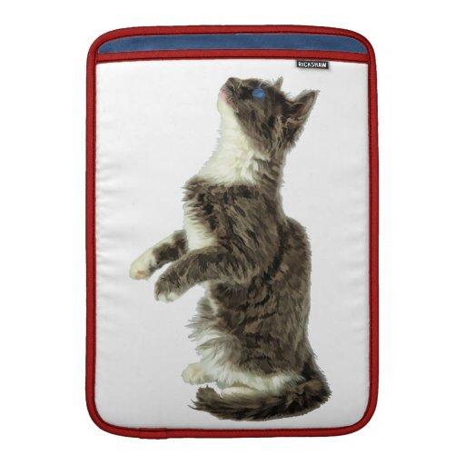 Petición del gato gris y blanco fundas macbook air