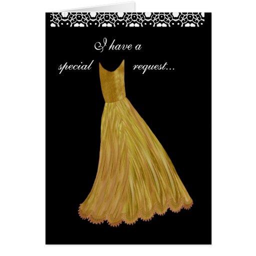 PETICIÓN ESPECIAL - vestido del ORO de la invitaci Tarjeton