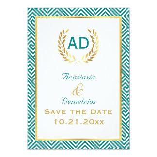 Petición griega 1 de la guirnalda de la llave y invitación 11,4 x 15,8 cm