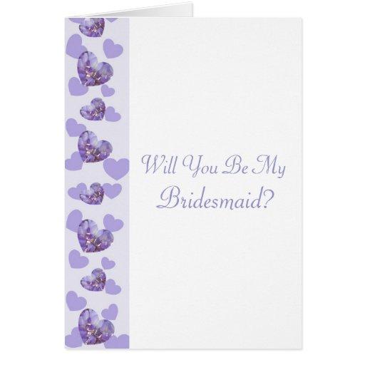 Petición púrpura de la dama de honor de los tarjeta pequeña