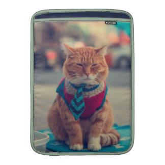 Petición que se sienta del gato beige del lazo funda  MacBook
