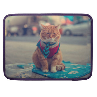 Petición que se sienta del gato beige del lazo fundas para macbooks