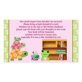 Peticiones del libro de la rana del chica en vez tarjetas de visita