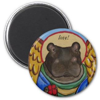 peticon hippo, love! refrigerator magnets