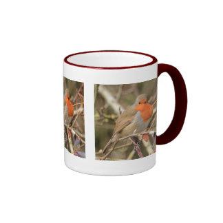 Petirrojo alegre taza de dos colores