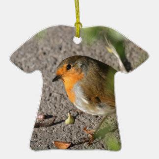 Petirrojo con su gusano adorno de cerámica en forma de camiseta