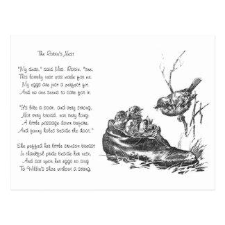 Petirrojo de la madre y sus bebés en un zapato tarjetas postales