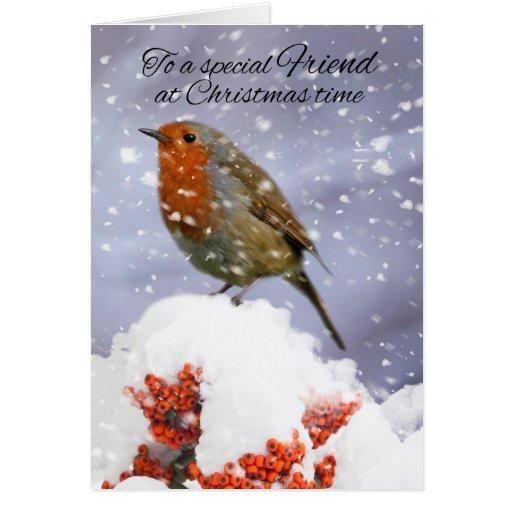 Petirrojo de las vacaciones de invierno del amigo tarjeta de felicitación