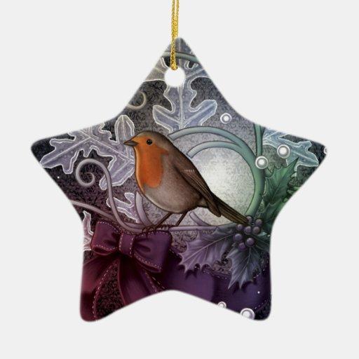Petirrojo del navidad adorno de cerámica en forma de estrella