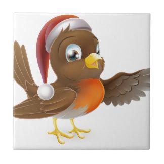 Petirrojo del navidad del gorra de Santa Azulejos Cerámicos