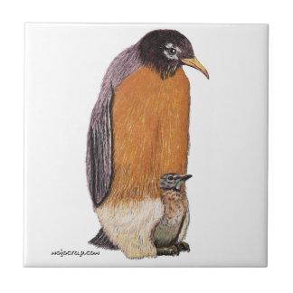 Petirrojo del pingüino con el polluelo teja cerámica