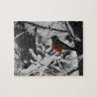 Petirrojo en color en fondo blanco y negro rompecabeza