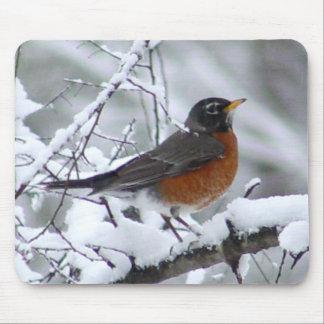 Petirrojo en la nieve - pájaro Mousepad Alfombrillas De Raton