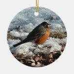 Petirrojo en nieve adorno de navidad