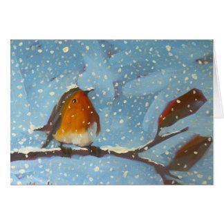 petirrojo en rama en día nevoso tarjeta de felicitación