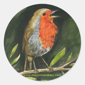 Petirrojo europeo - pegatinas del pájaro de etiqueta redonda