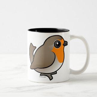 Petirrojo europeo taza de café