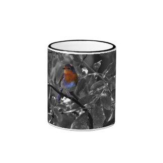 Petirrojo europeo taza de dos colores