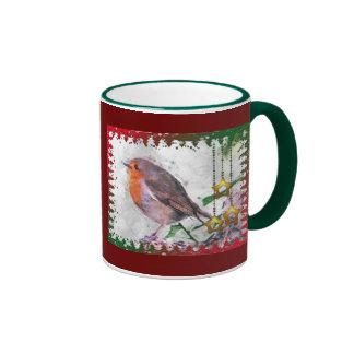 Petirrojo Redbreast de la alegría del navidad Taza De Dos Colores