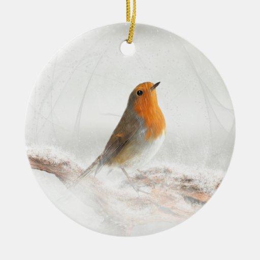 Petirrojo Redbreast de la ducha de nieve Ornamento Para Arbol De Navidad