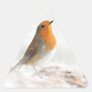 Petirrojo Redbreast de la ducha de nieve Pegatina Triangulo Personalizadas