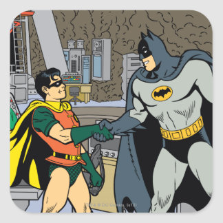 Petirrojo y apretón de manos de Batman Calcomanías Cuadradas