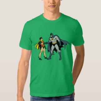 Petirrojo y apretón de manos de Batman Polera