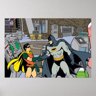 Petirrojo y apretón de manos de Batman Póster