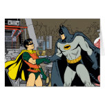 Petirrojo y apretón de manos de Batman Tarjetón