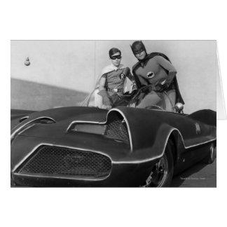 Petirrojo y Batman que se colocan en Batmobile Tarjeta De Felicitación