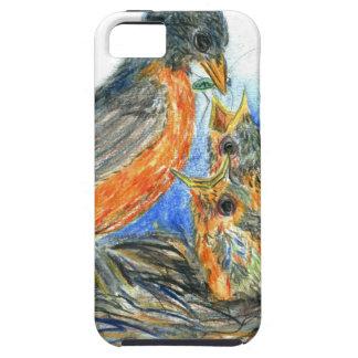 Petirrojo y polluelos - lápiz Drawin de la madre d iPhone 5 Carcasa